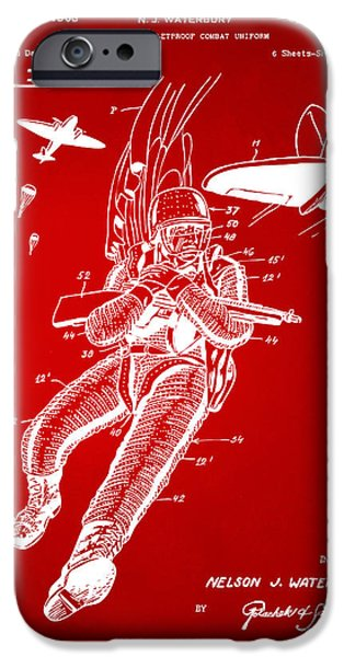 Survival iPhone Cases - 1968 Bulletproof Patent Artwork Figure 14 Red iPhone Case by Nikki Marie Smith