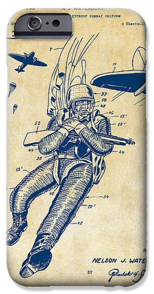 Survival iPhone Cases - 1968 Bulletproof Patent Artwork Figure 14 Vintage iPhone Case by Nikki Marie Smith