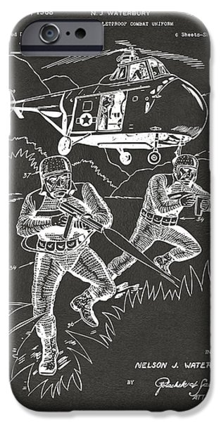 Fight Digital iPhone Cases - 1968 Bulletproof Patent Artwork Figure 15 Gray iPhone Case by Nikki Marie Smith