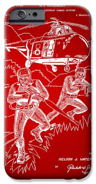 Concept Digital Art iPhone Cases - 1968 Bulletproof Patent Artwork Figure 15 Red iPhone Case by Nikki Marie Smith