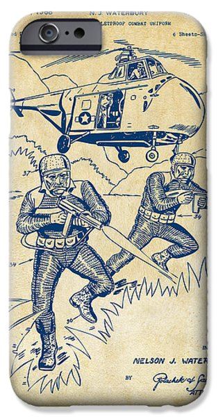 Fight Digital iPhone Cases - 1968 Bulletproof Patent Artwork Figure 15 Vintage iPhone Case by Nikki Marie Smith