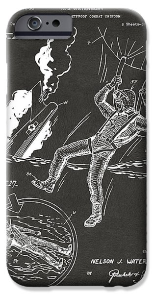 Fight Digital iPhone Cases - 1968 Bulletproof Patent Artwork Figure 16 Gray iPhone Case by Nikki Marie Smith