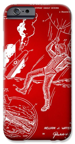Survival iPhone Cases - 1968 Bulletproof Patent Artwork Figure 16 Red iPhone Case by Nikki Marie Smith