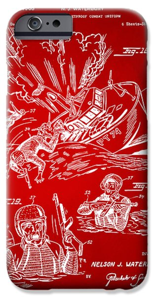 Concept Digital Art iPhone Cases - 1968 Bulletproof Patent Artwork Figure 18 Red iPhone Case by Nikki Marie Smith