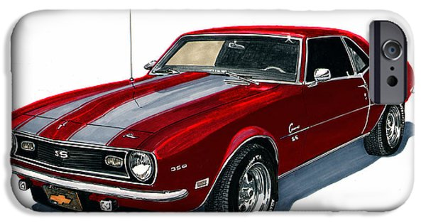 Classic Car Drawings iPhone Cases - 1968 Camaro S S 350 iPhone Case by Jack Pumphrey