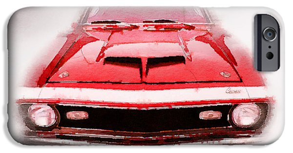 Old Cars iPhone Cases - 1968 Chevy Camaro Front End Watercolor iPhone Case by Naxart Studio