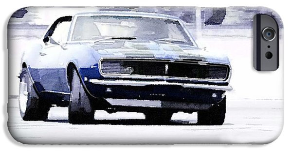 Vintage Car iPhone Cases - 1968 Chevy Camaro Watercolor iPhone Case by Naxart Studio