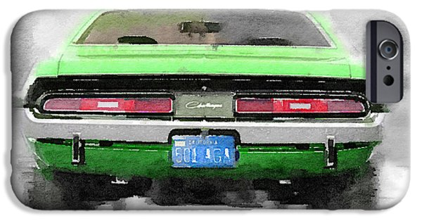 1968 iPhone Cases - 1968 Dodge Challenger Rear Watercolor iPhone Case by Naxart Studio