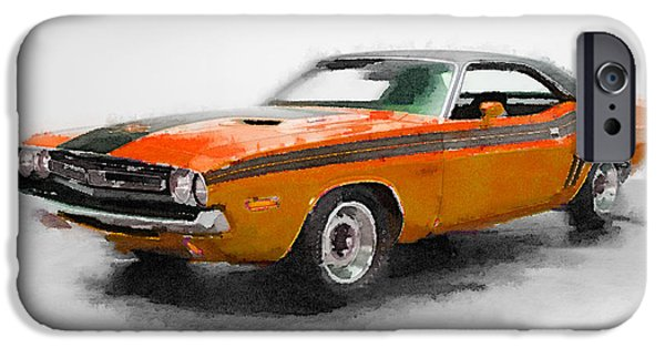 Old Cars iPhone Cases - 1968 Dodge Challenger Watercolor iPhone Case by Naxart Studio