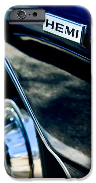 1968 iPhone Cases - 1968 Dodge Charger RT Coupe 426 Hemi Upgrade Emblem iPhone Case by Jill Reger