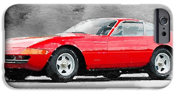 Old Cars iPhone Cases - 1968 Ferrari 365 GTB4 Daytona Watercolor iPhone Case by Naxart Studio