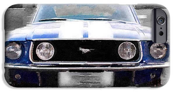 Old Cars iPhone Cases - 1968 Ford Mustang Front End Watercolor iPhone Case by Naxart Studio