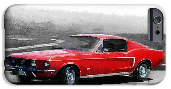 1968 iPhone Cases - 1968 Ford Mustang Watercolor iPhone Case by Naxart Studio