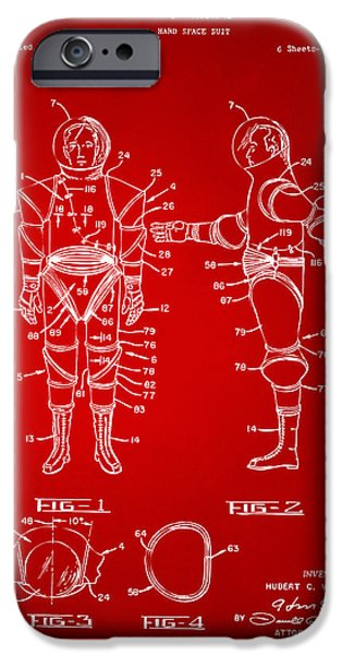 1968 Hard Space Suit Patent Artwork - Red iPhone Case by Nikki Marie Smith