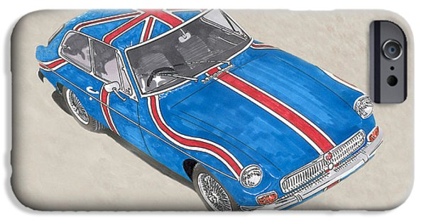 Suspension Drawings iPhone Cases - 1968 M G G T  Coupe iPhone Case by Jack Pumphrey