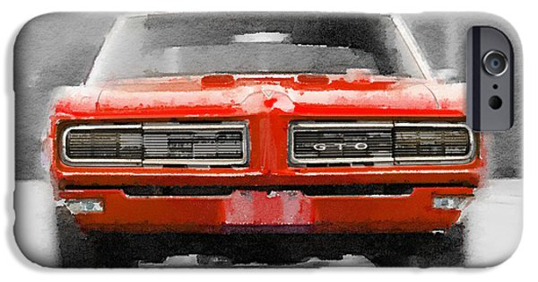 Racing Mixed Media iPhone Cases - 1968 Pontiac GTO Front Watercolor iPhone Case by Naxart Studio