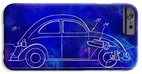 Psychedelic Photographs iPhone Cases - 1968 VW Patent Drawing Blue iPhone Case by Jon Neidert