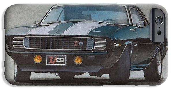 Stripe Drawings iPhone Cases - 1969 Camaro Z28 iPhone Case by Paul Kuras