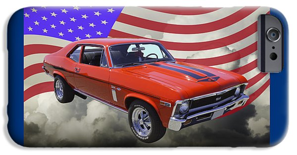 Red White And Blue iPhone Cases - 1969 Chevrolet Nova Yenko 427 With American Flag iPhone Case by Keith Webber Jr