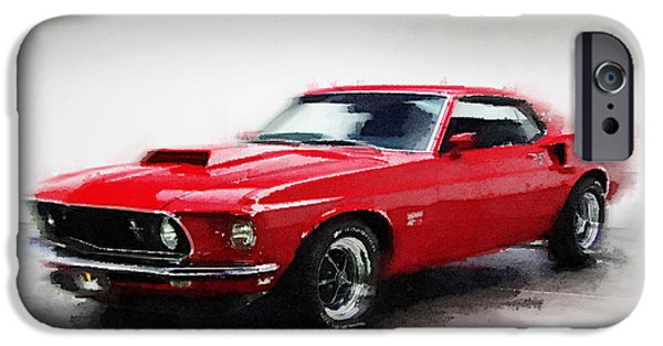 Racing Mixed Media iPhone Cases - 1969 Ford Mustang Watercolor iPhone Case by Naxart Studio