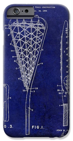 Racquet iPhone Cases - 1969 Lacrosse Stick Patent Drawing Blue iPhone Case by Jon Neidert