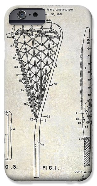 Racquet iPhone Cases - 1969 Lacrosse Stick Patent Drawing iPhone Case by Jon Neidert