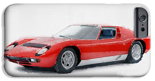 Racing Mixed Media iPhone Cases - 1969 Lamborghini Miura P400 S Watercolor iPhone Case by Naxart Studio
