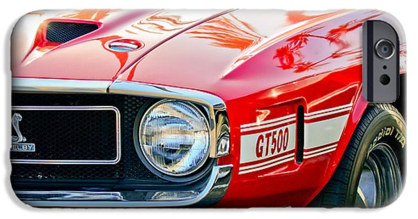1969 iPhone Cases - 1969 Shelby Cobra GT500 Front End - Grille Emblem iPhone Case by Jill Reger