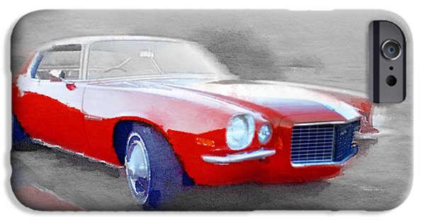 Vintage Car iPhone Cases - 1970 Chevy Camaro Watercolor iPhone Case by Naxart Studio