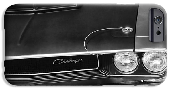 Death Proof iPhone Cases - 1970 Dodge Challenger T/A in Black and White iPhone Case by Gordon Dean II