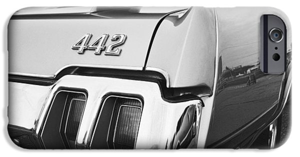 Black Top Digital Art iPhone Cases - 1970 Olds 442 Black and White iPhone Case by Gordon Dean II