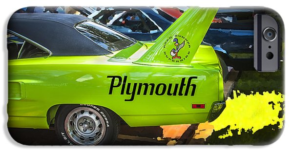 Road Runner iPhone Cases - 1970 Plymouth Road Runner Hemi Super Bird  iPhone Case by Rich Franco