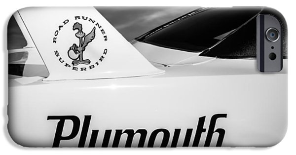 Road Runner iPhone Cases - 1970 Plymouth Superbird Emblem -0520bw iPhone Case by Jill Reger