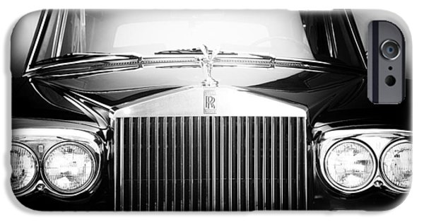 Monotone iPhone Cases - 1970 Rolls Royce Silver Shadow Hood Ornament and Front  iPhone Case by Nomad Art And  Design