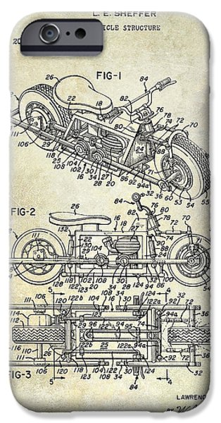 Victory iPhone Cases - 1970 Triumph Motorcycle Patent Drawing iPhone Case by Jon Neidert