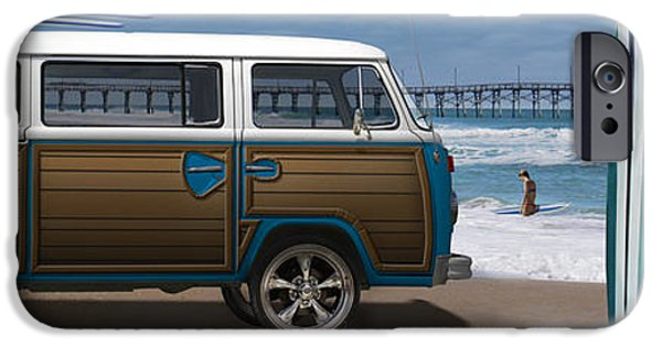Board Digital Art iPhone Cases - 1970 VW Bus Woody iPhone Case by Mike McGlothlen