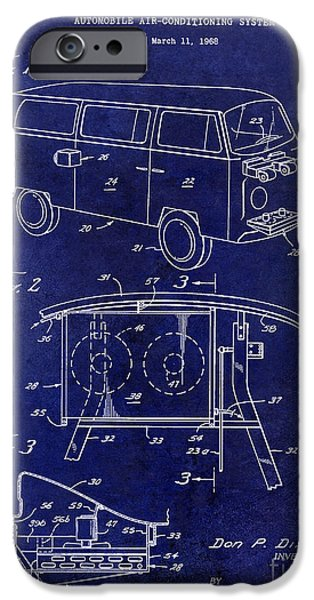 Psychedelic Photographs iPhone Cases - 1970 VW Patent Drawing Blue iPhone Case by Jon Neidert