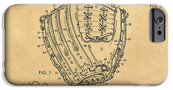 Baseball Glove iPhone Cases - 1971 Baseball Glove Patent Art Latina for Rawlings 1 iPhone Case by Nishanth Gopinathan