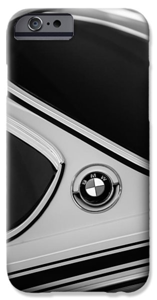 Lightweight iPhone Cases - 1971 BMW 3.0CSL Lightweight Prototype - Side Emblem -0476bw iPhone Case by Jill Reger