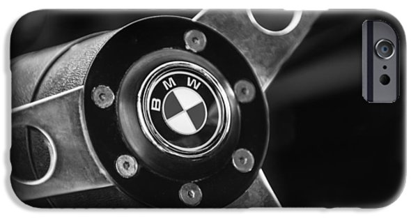Lightweight iPhone Cases - 1971 BMW 3.0CSL Lightweight Prototype - Steering Wheel Emblem -0498bw iPhone Case by Jill Reger