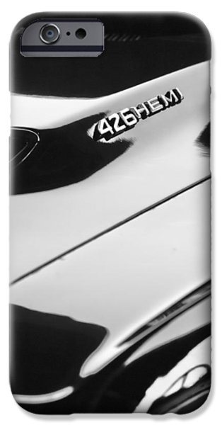 Hemi iPhone Cases - 1971 Dodge 426 Hemi Challenger RT Hood Emblem iPhone Case by Jill Reger