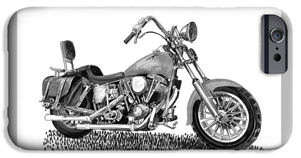 Power Lines Drawings iPhone Cases - 1971 Harley Davidson S O A Shovel head F  L iPhone Case by Jack Pumphrey