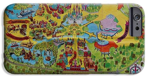 Magic Kingdom iPhone Cases - 1971 Original Map Of The Magic Kingdom iPhone Case by Rob Hans