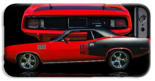440 iPhone Cases - 1971 Plymouth Cuda 440 Six Pack    iPhone Case by Peter Piatt