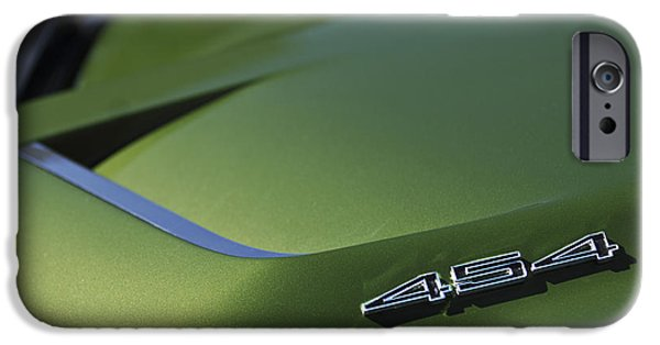Cars iPhone Cases - 1972 Chevrolet Corvette Convertible Stingray 454 Hood iPhone Case by Jill Reger