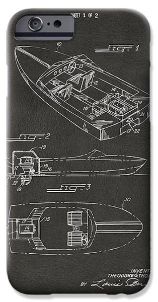 1970 iPhone Cases - 1972 Chris Craft Boat Patent Artwork - Gray iPhone Case by Nikki Marie Smith