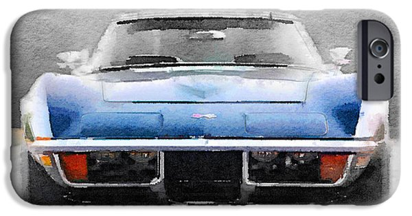 Old Car iPhone Cases - 1972 Corvette Front End Watercolor iPhone Case by Naxart Studio