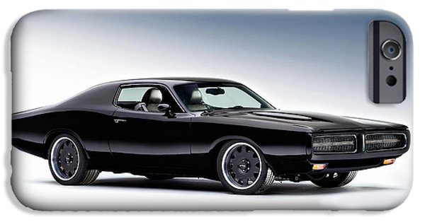 Cars iPhone Cases - 1972 Dodge Charger iPhone Case by Gianfranco Weiss