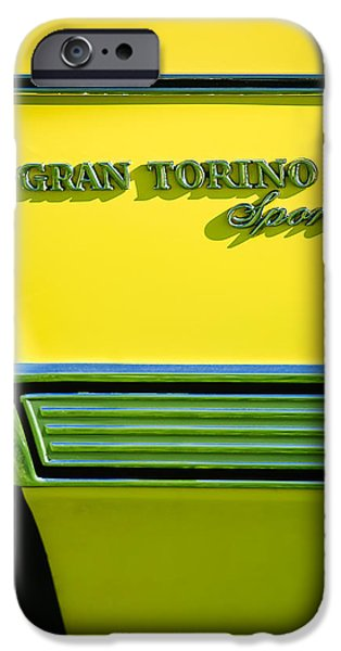 1972 iPhone Cases - 1972 Ford Gran Torino Sport Emblem iPhone Case by Jill Reger