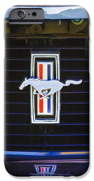 1972 iPhone Cases - 1972 Ford Mustang Boss 302 Grille Emblem iPhone Case by Jill Reger